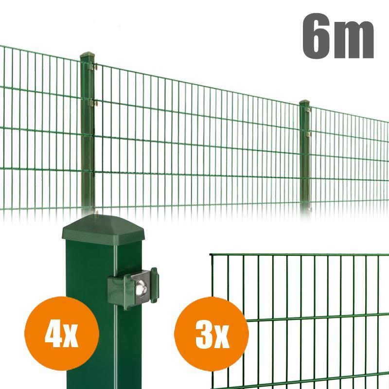 AOS Matte Pico Komplett-Zaun PICO S Länge 6m x Höhe 0,8 m moosgrün