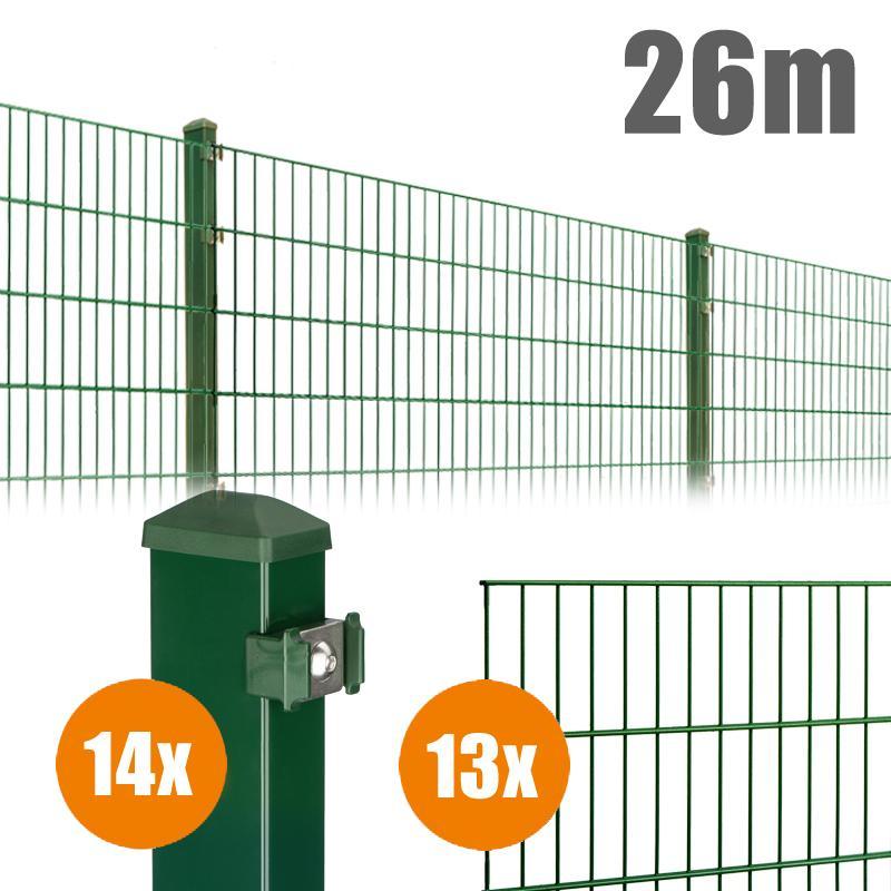 AOS Matte Pico Komplett-Zaun PICO S Länge 26m x Höhe 1,0 m moosgrün