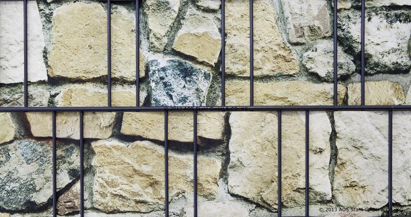 Doppelstabgitterzaun Sichtschutzstreifen Blickdicht deko (L: 260 x 19 cm) - Sanstein bunt Muster