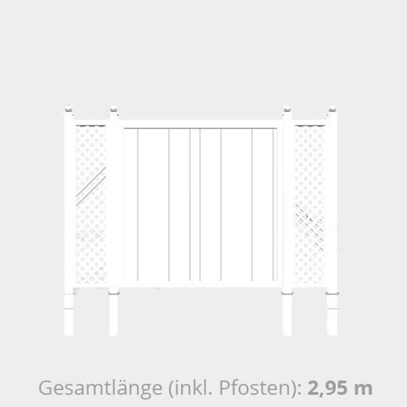 TraumGarten Sichtschutzzaun Kunststoff Komplettset aus Serie Longlife Riva - 2,95 m