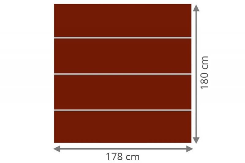 TraumGarten Sichtschutzzaun System Board XL Set Rechteck rot - 178 x 180 cm