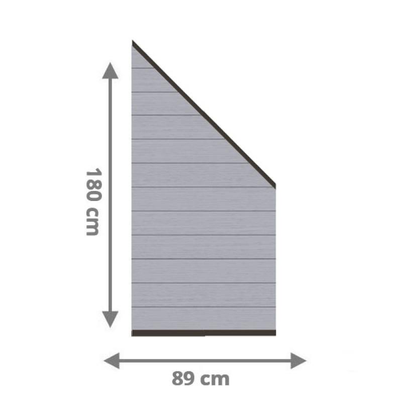 TraumGarten Sichtschutzzaun System WPC Anschluss Set grau / anthrazit - 89 x 183 auf 89 cm