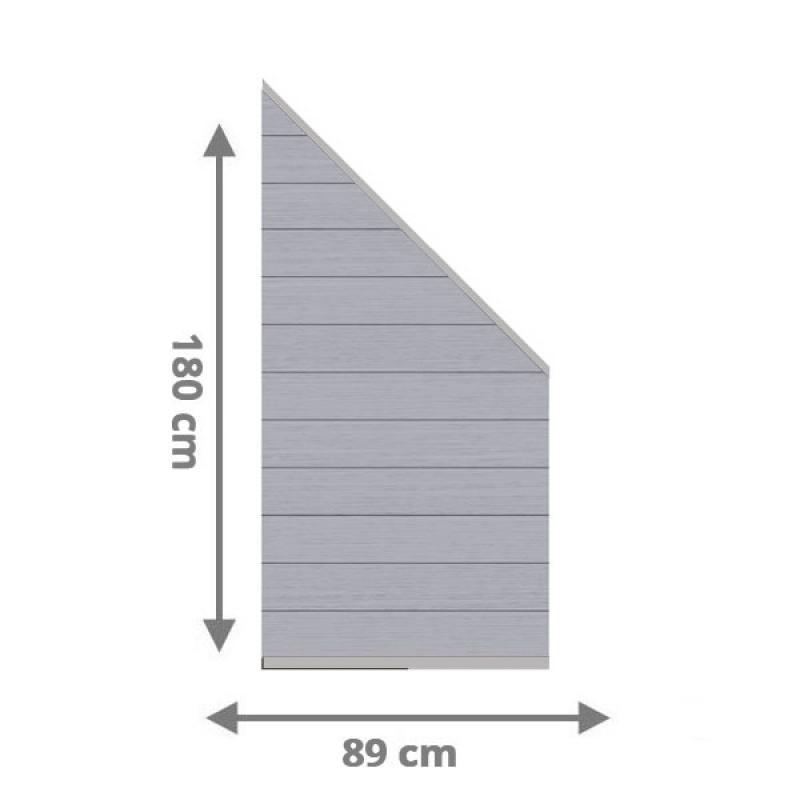 TraumGarten Sichtschutzzaun System WPC Anschluss Set grau / silber - 89 x 183 auf 89 cm