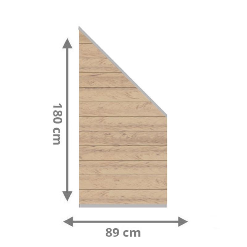 TraumGarten Sichtschutzzaun System WPC Anschluss Set sand / silber - 89 x 183 auf 89 cm