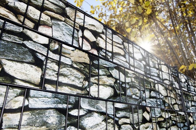 Doppelstabgitterzaun Sichtschutzstreifen Blickdicht deko (L: 260 x 19 cm) - Stein Mediterran Muster