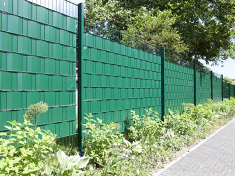 Doppelstabgitterzaun Sichtschutzstreifen A1 Rolle 35 m Blickdicht - tannengrün