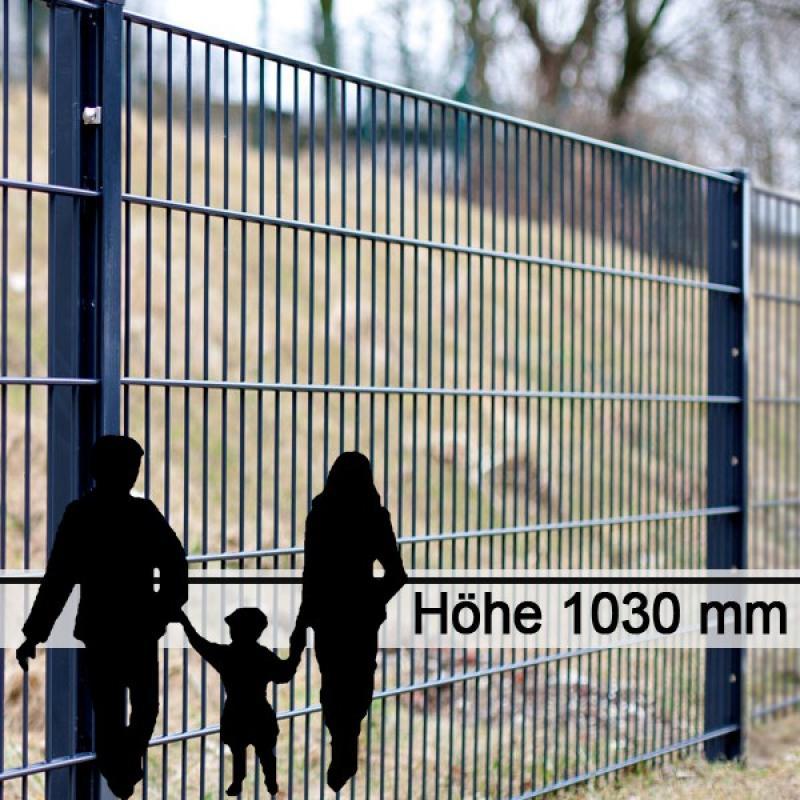 Doppelstabgitterzaun Metallzaun 8/6/8 MAX RAL 7016 - Höhe: 1030 mm