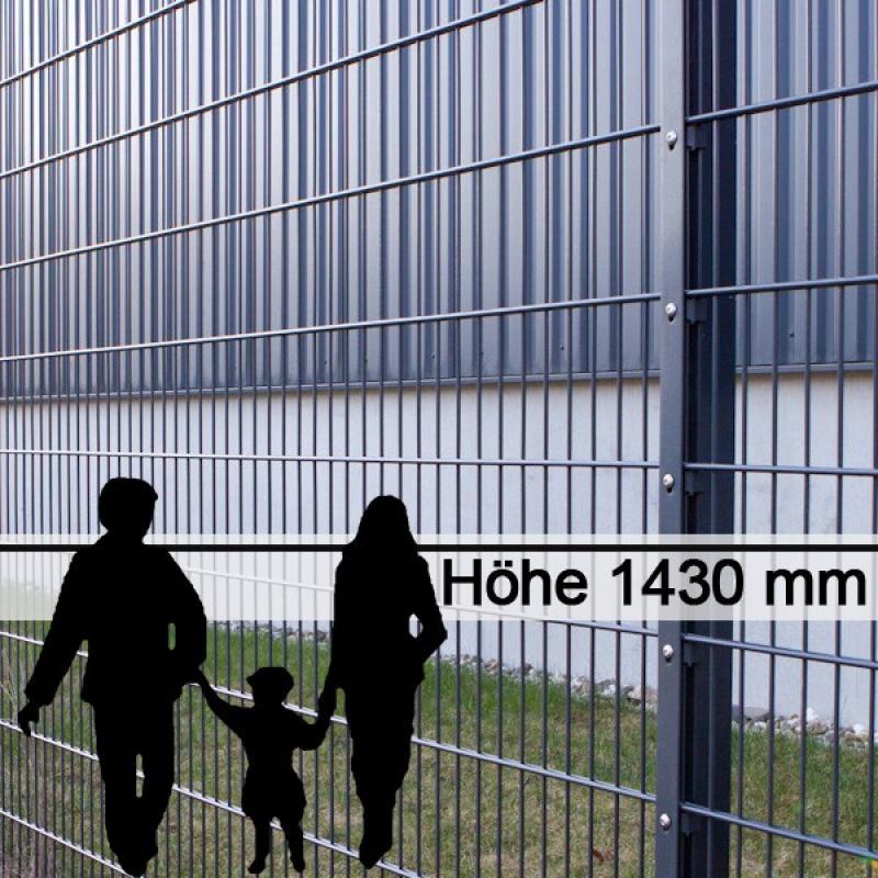 Doppelstabgitterzaun Metallzaun 8/6/8 MAX RAL 7016 - Höhe: 1430 mm