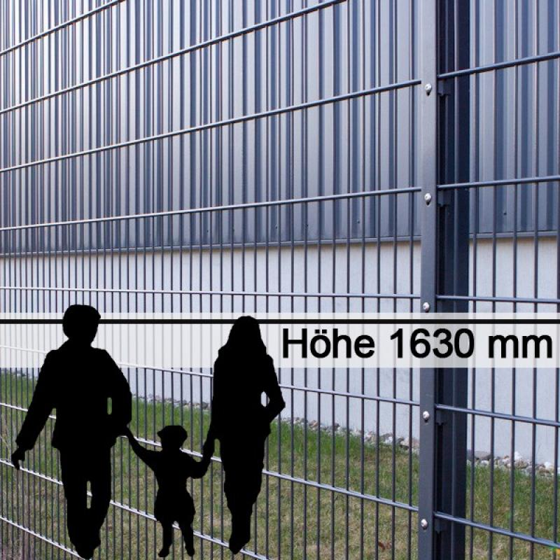 Doppelstabgitterzaun Metallzaun 8/6/8 MAX RAL 7016 - Höhe: 1630 mm