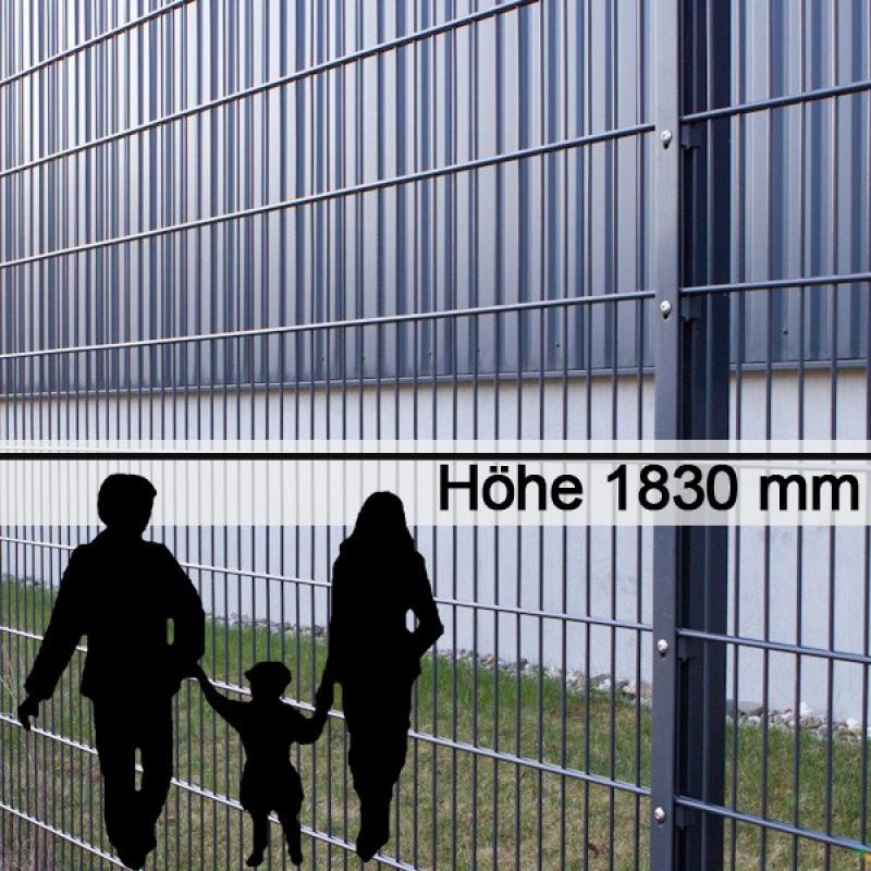 Doppelstabgitterzaun Metallzaun 8/6/8 MAX RAL 7016 - Höhe: 1830 mm