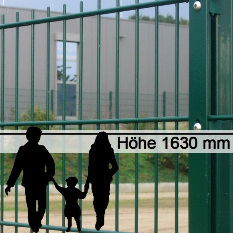 Doppelstabgitterzaun Metallzaun 8/6/8 MAX RAL 6005 - Höhe: 1630 mm