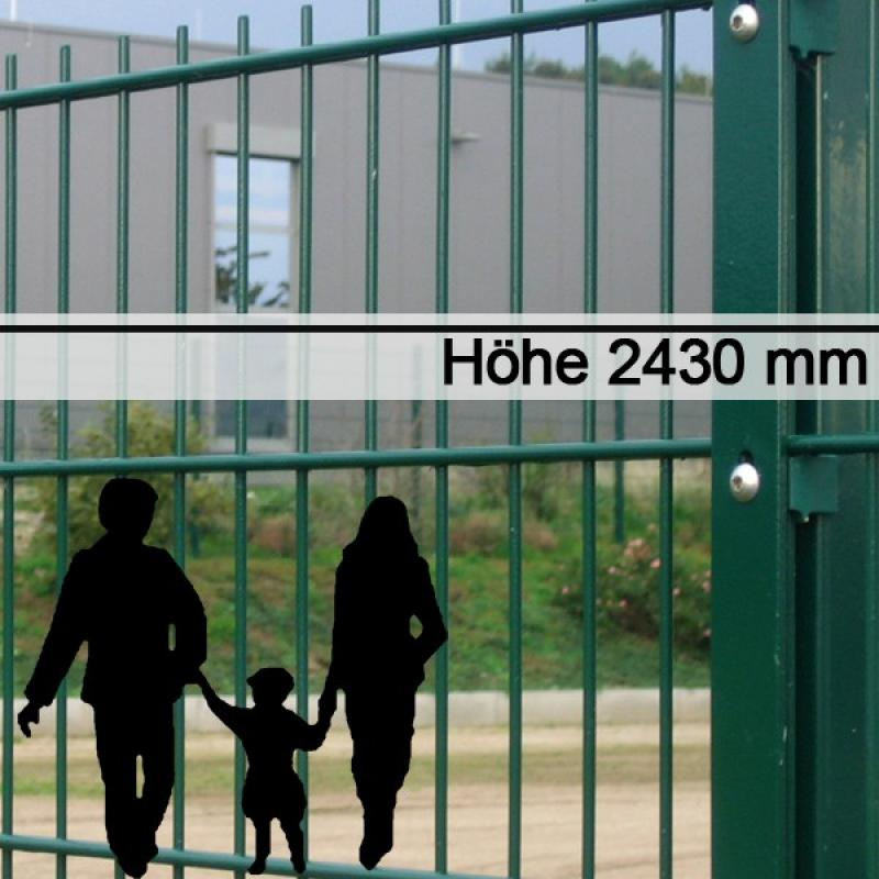 Doppelstabgitterzaun Metallzaun 8/6/8 MAX RAL 6005 - Höhe: 2430 mm