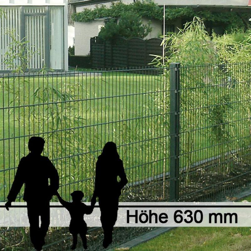 Doppelstabgitterzaun Metallzaun 8/6/8 MAX RAL 6005 - Höhe: 630 mm
