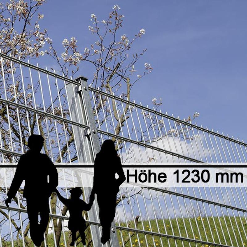 Doppelstabgitterzaun Metallzaun 8/6/8 MAX feuerverzinkt - Höhe: 1230 mm