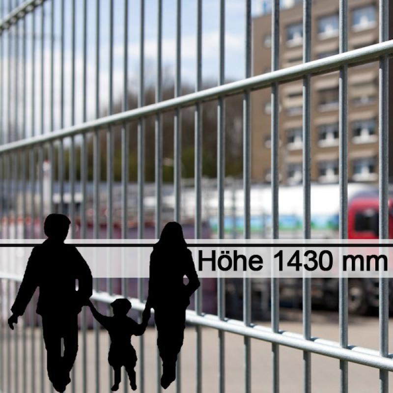 Doppelstabgitterzaun Metallzaun 8/6/8 MAX feuerverzinkt - Höhe: 1430 mm