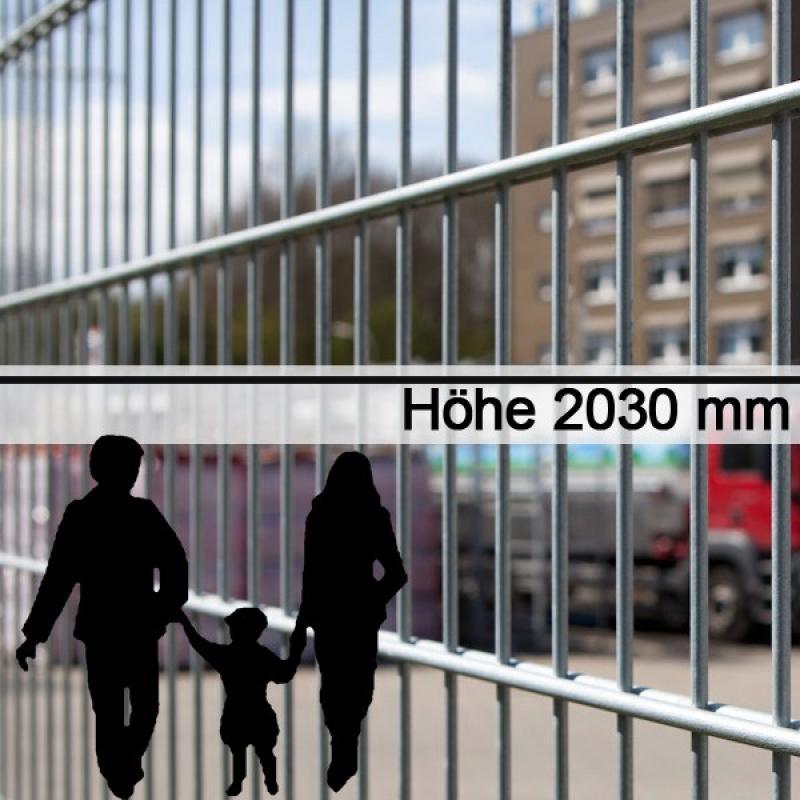 Doppelstabgitterzaun Metallzaun 8/6/8 MAX feuerverzinkt - Höhe: 2030 mm