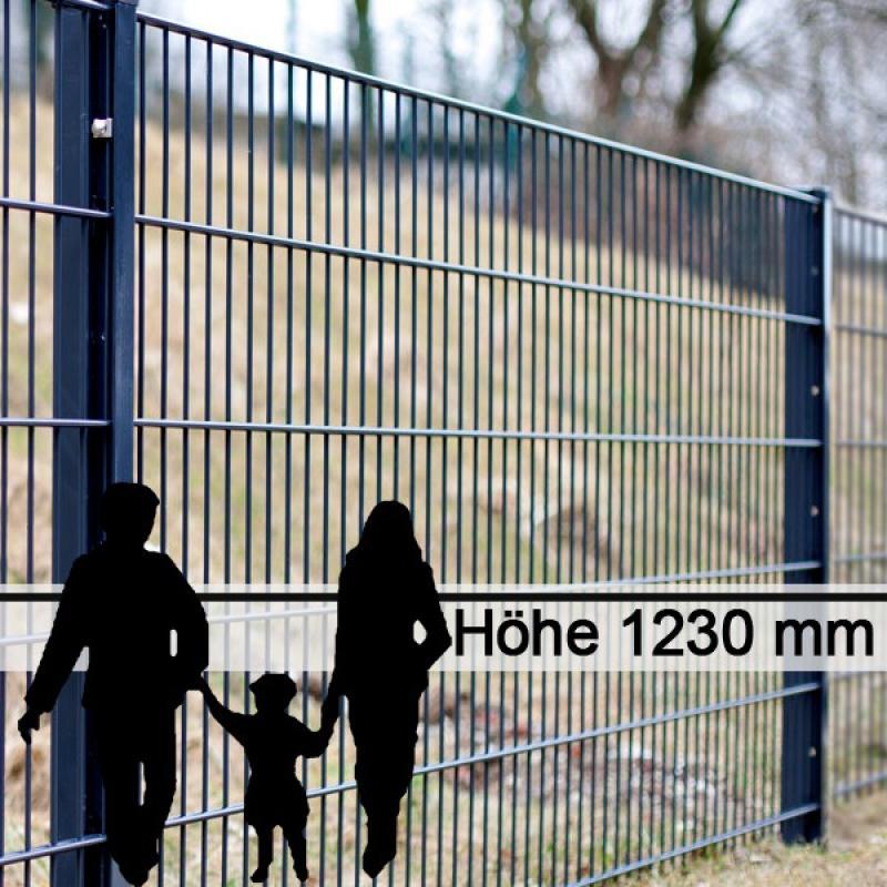 Doppelstabgitterzaun Metallzaun 6/5/6 MORITZ RAL 7016 - Höhe: 1230 mm