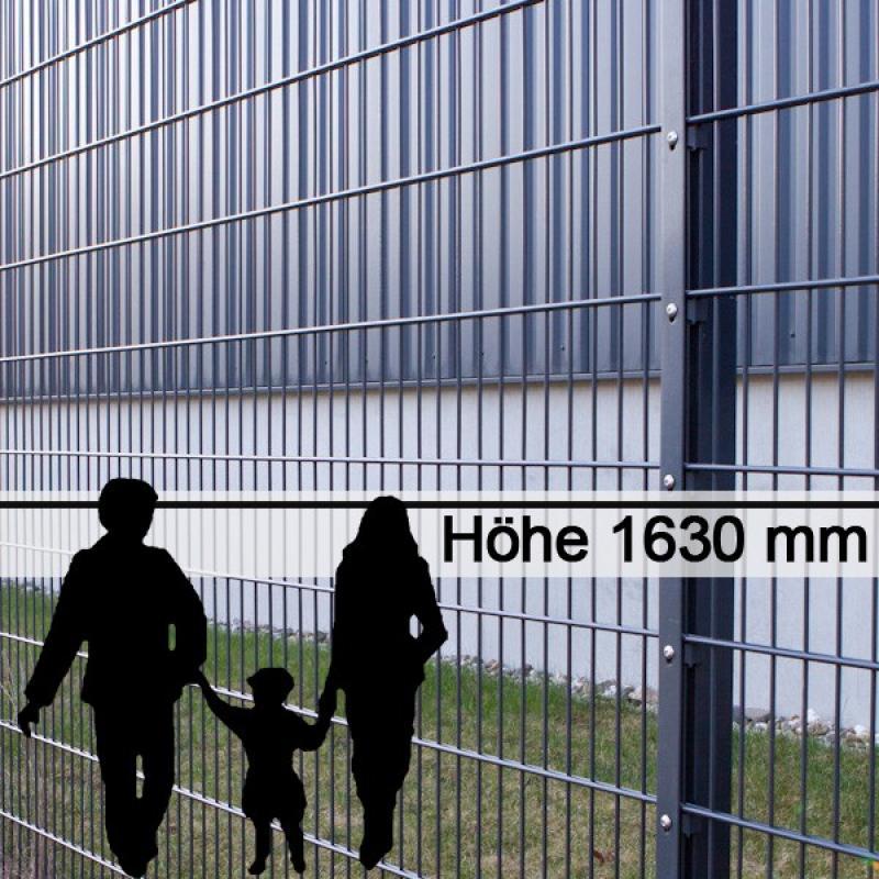 Doppelstabgitterzaun Metallzaun 6/5/6 MORITZ RAL 7016 - Höhe: 1630 mm