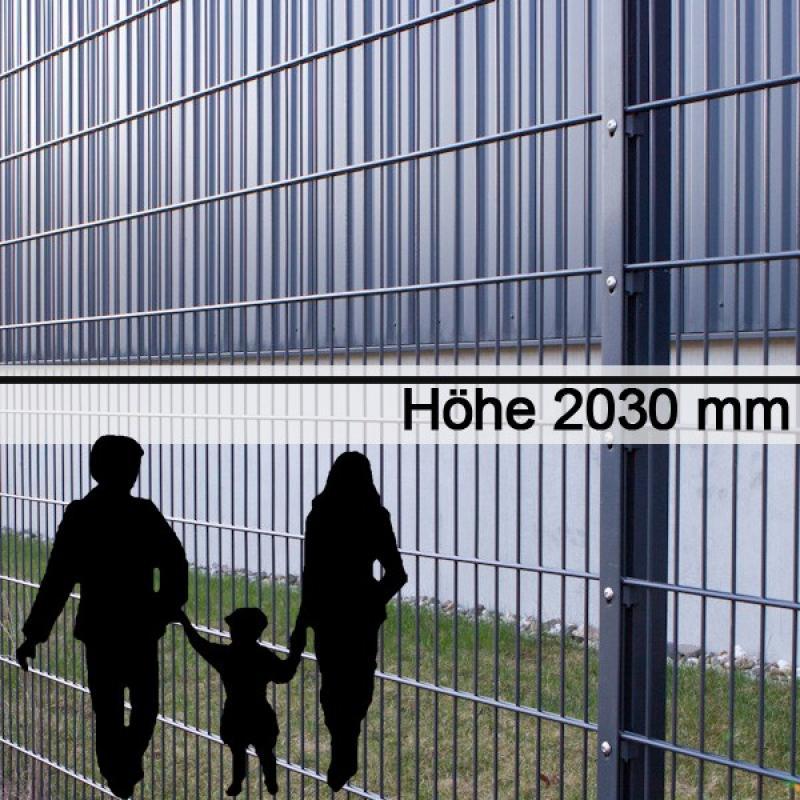 Doppelstabgitterzaun Metallzaun 6/5/6 MORITZ RAL 7016 - Höhe: 2030 mm