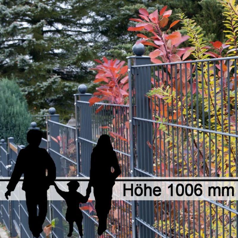 Doppelstabgitterzaun Metallzaun 6/5/6 MORITZ GO RAL 7016 - Höhe 1006
