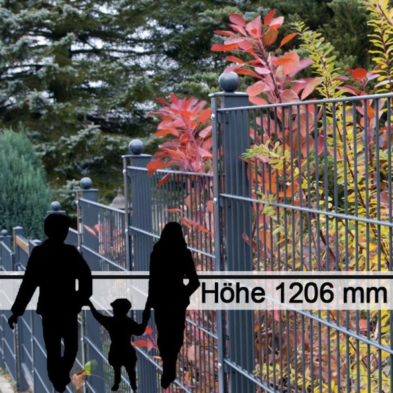 Doppelstabgitterzaun Metallzaun 6/5/6 MORITZ GO RAL 7016 - Höhe 1206