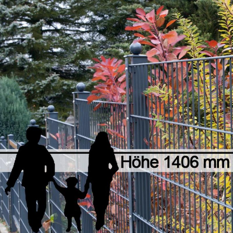 Doppelstabgitterzaun Metallzaun 6/5/6 MORITZ GO RAL 7016 - Höhe 1406