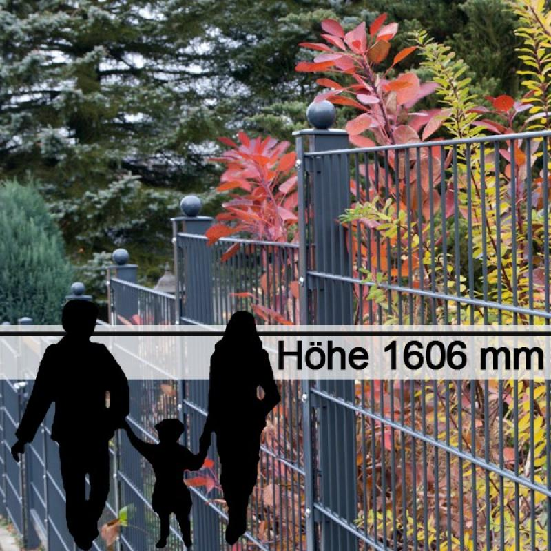 Doppelstabgitterzaun Metallzaun 6/5/6 MORITZ GO RAL 7016 - Höhe 1606