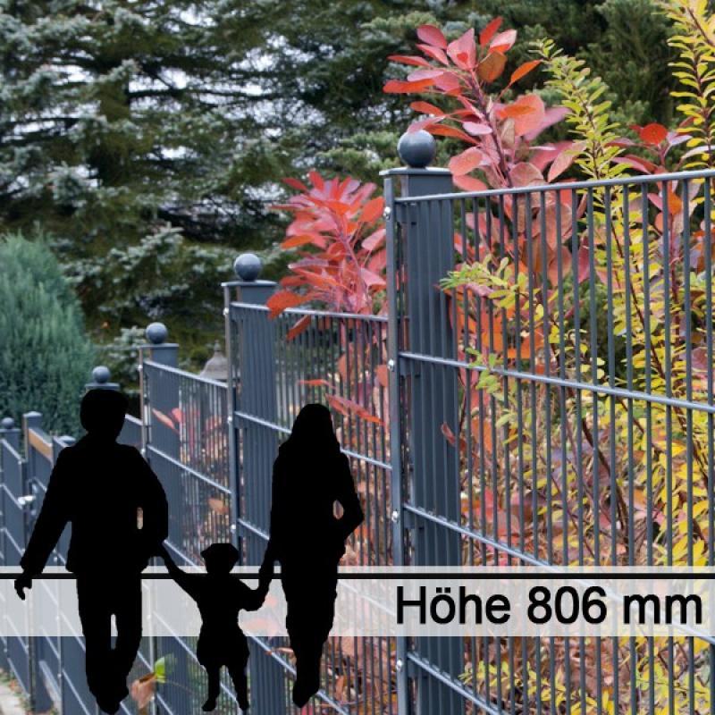 Doppelstabgitterzaun Metallzaun 6/5/6 MORITZ GO RAL 7016 - Höhe 806