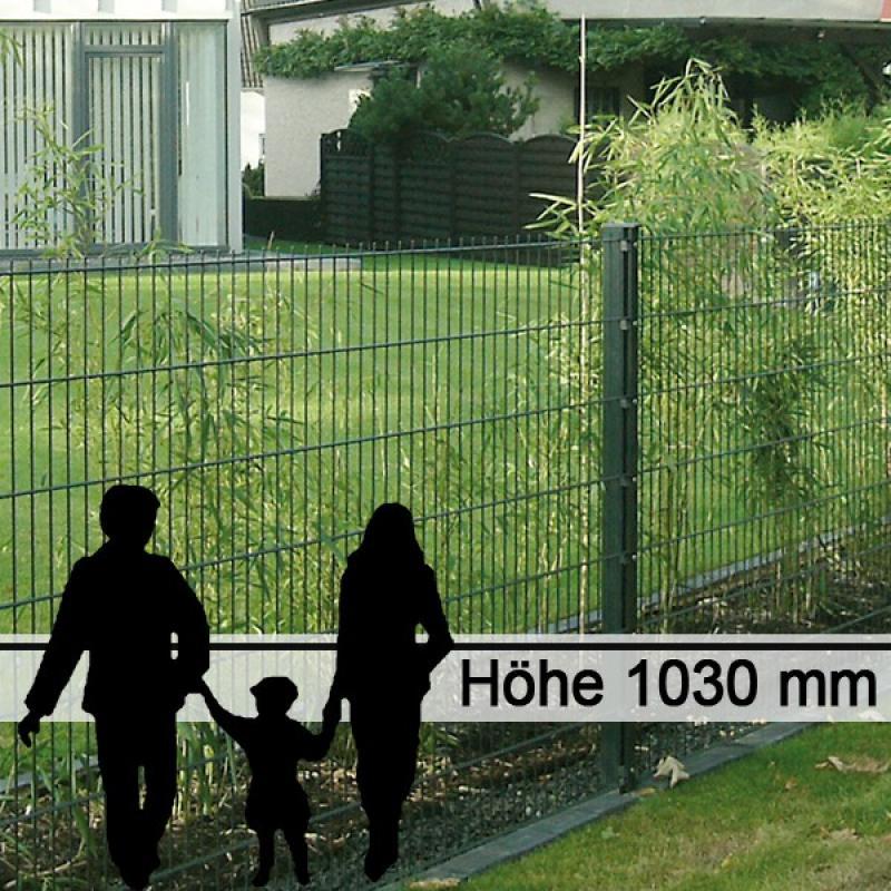 Doppelstabgitterzaun Metallzaun 6/5/6 MORITZ RAL 6005 - Höhe: 1030 mm