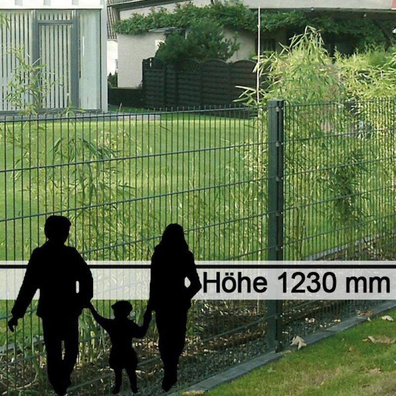 Doppelstabgitterzaun Metallzaun 6/5/6 MORITZ RAL 6005 - Höhe: 1230 mm