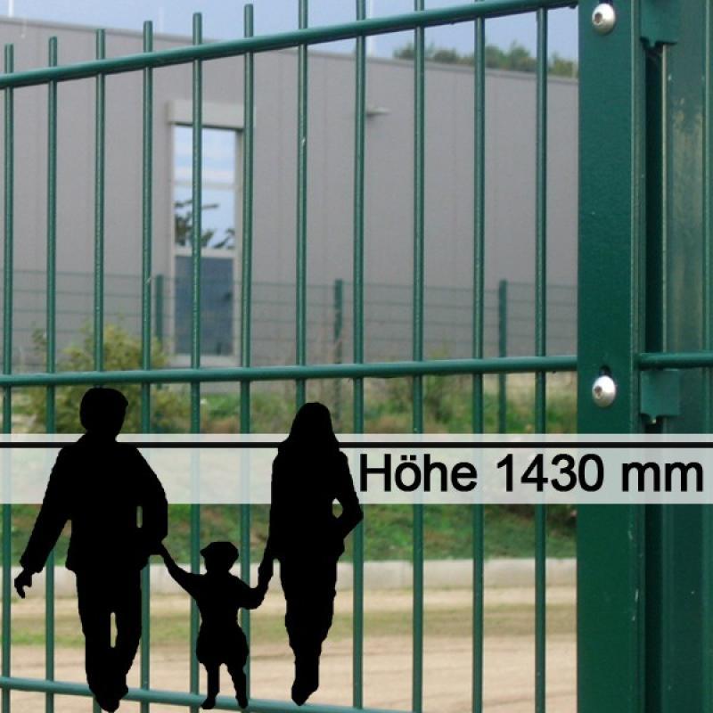 Doppelstabgitterzaun Metallzaun 6/5/6 MORITZ RAL 6005 - Höhe: 1430 mm