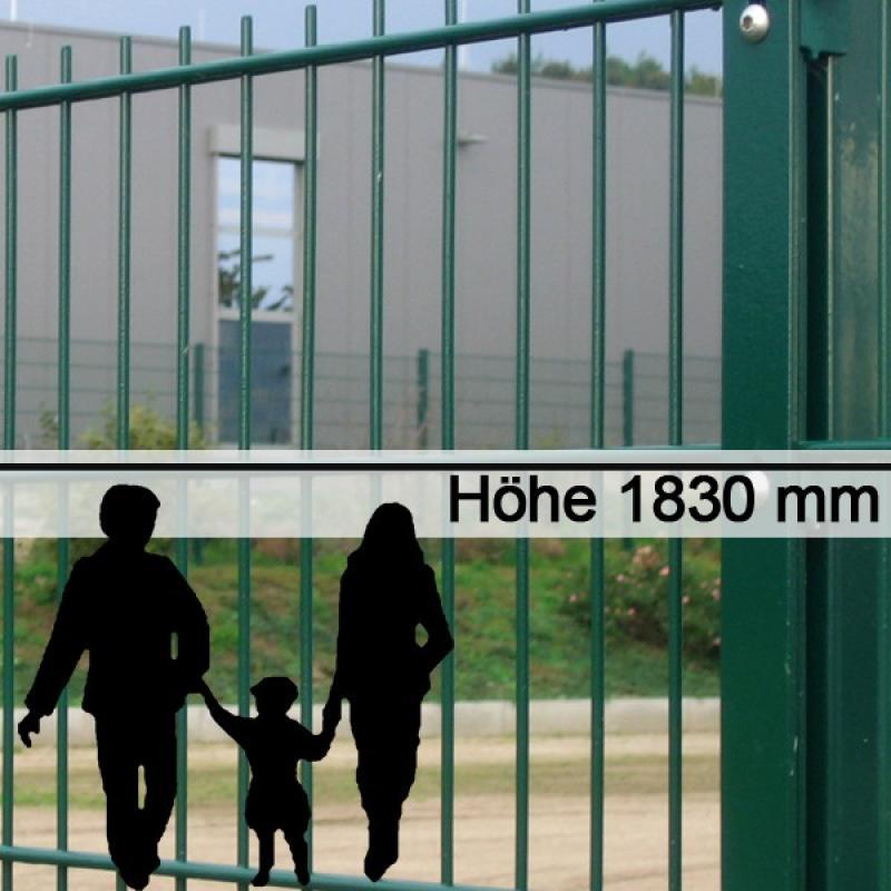 Doppelstabgitterzaun Metallzaun 6/5/6 MORITZ RAL 6005 - Höhe: 1830 mm