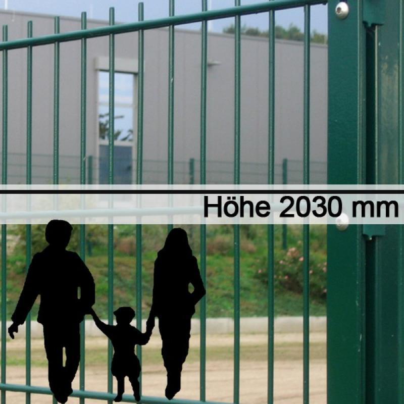 Doppelstabgitterzaun Metallzaun 6/5/6 MORITZ RAL 6005 - Höhe: 2030 mm
