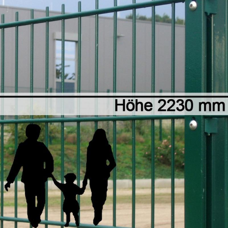 Doppelstabgitterzaun Metallzaun 6/5/6 MORITZ RAL 6005 - Höhe: 2230 mm