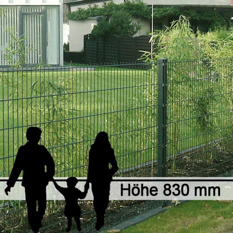 Doppelstabgitterzaun Metallzaun 6/5/6 MORITZ RAL 6005 - Höhe: 830 mm