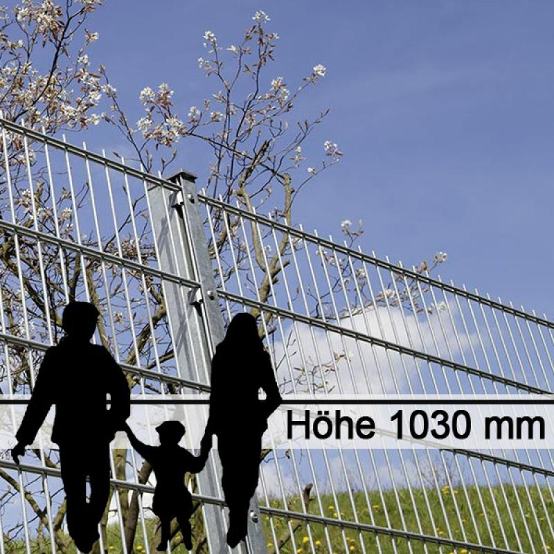 Doppelstabgitterzaun Metallzaun 6/5/6 MORITZ feuerverzinkt - Höhe: 1030 mm
