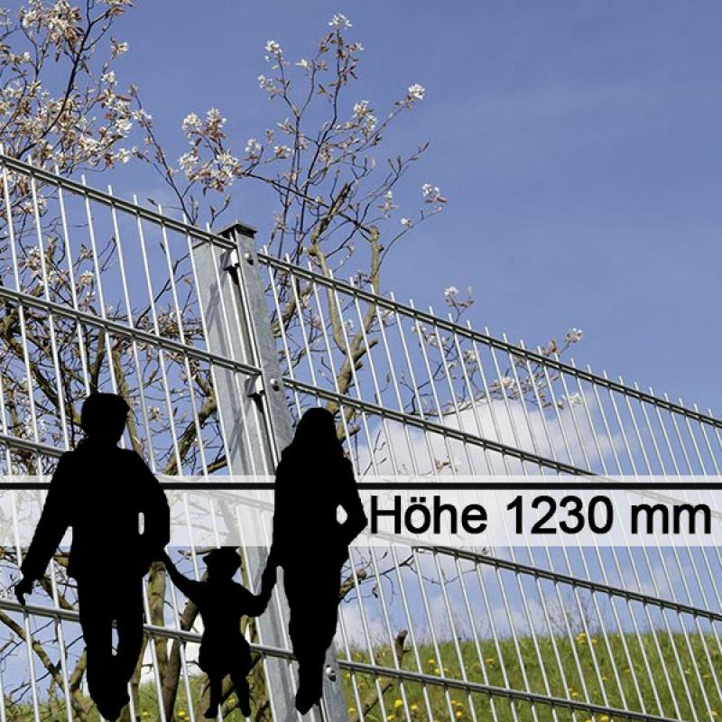 Doppelstabgitterzaun Metallzaun 6/5/6 MORITZ feuerverzinkt - Höhe: 1230 mm