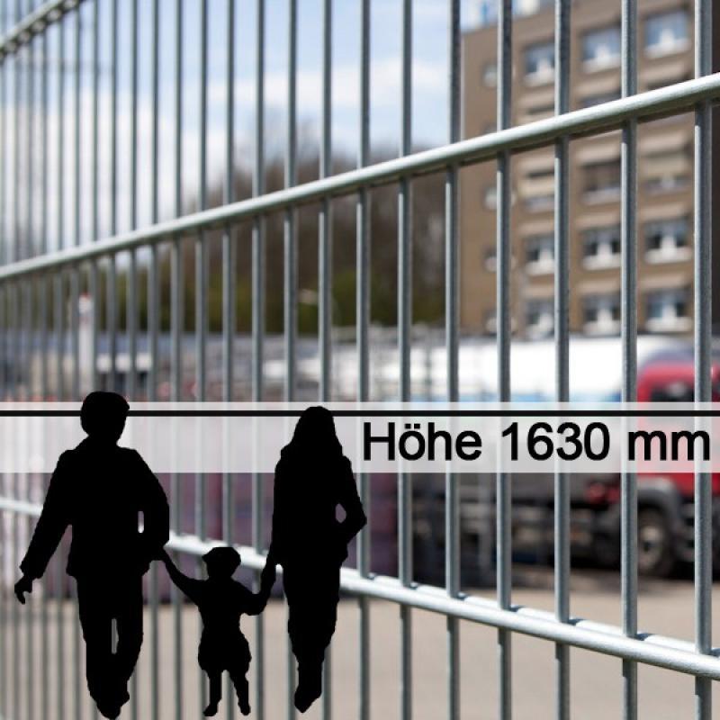 Doppelstabgitterzaun Metallzaun 6/5/6 MORITZ feuerverzinkt - Höhe: 1630 mm