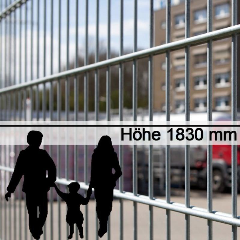 Doppelstabgitterzaun Metallzaun 6/5/6 MORITZ feuerverzinkt - Höhe: 1830 mm