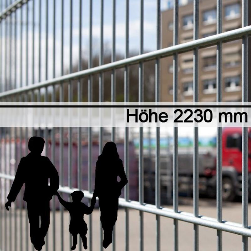 Doppelstabgitterzaun Metallzaun 6/5/6 MORITZ feuerverzinkt - Höhe: 2230 mm