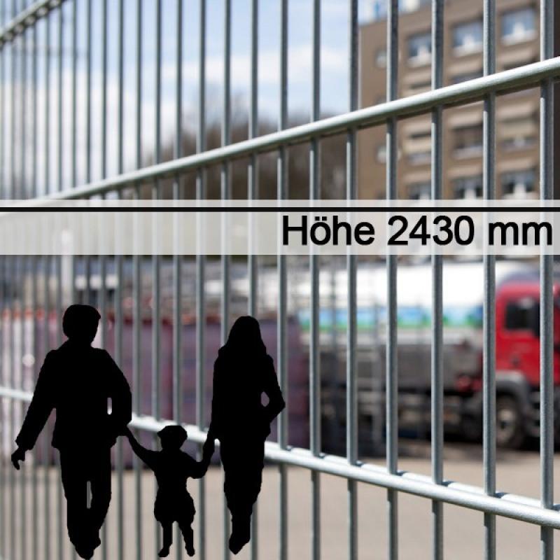 Doppelstabgitterzaun Metallzaun 6/5/6 MORITZ feuerverzinkt - Höhe: 2430 mm