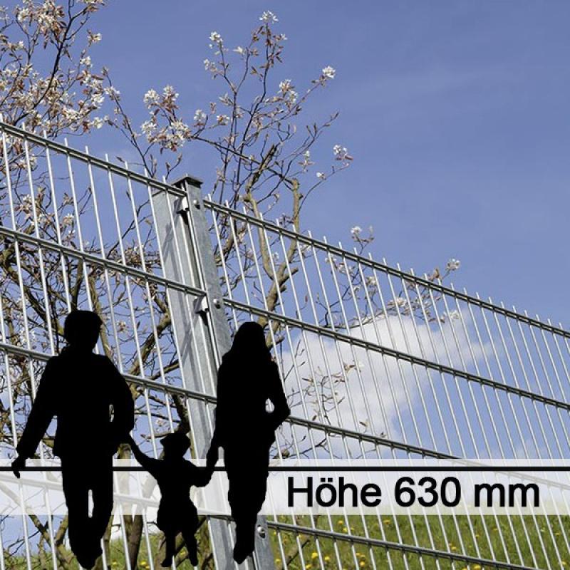 Doppelstabgitterzaun Metallzaun 6/5/6 MORITZ feuerverzinkt - Höhe: 630 mm