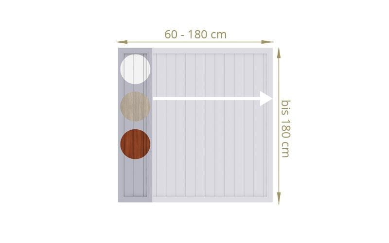 TraumGarten Sichtschutzzaun Maßanfertigung Longlife Riva Farbe wählbar - für Breite 40 - 180 cm