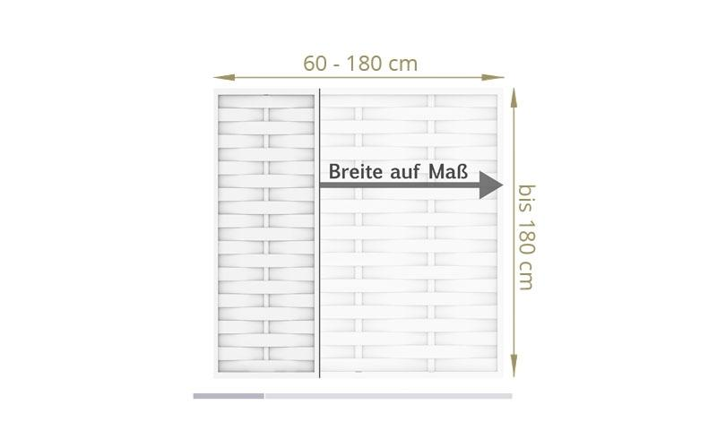 TraumGarten Sichtschutzzaun Maßanfertigung Longlife Romo weiß - für Breite 40 - 180 cm