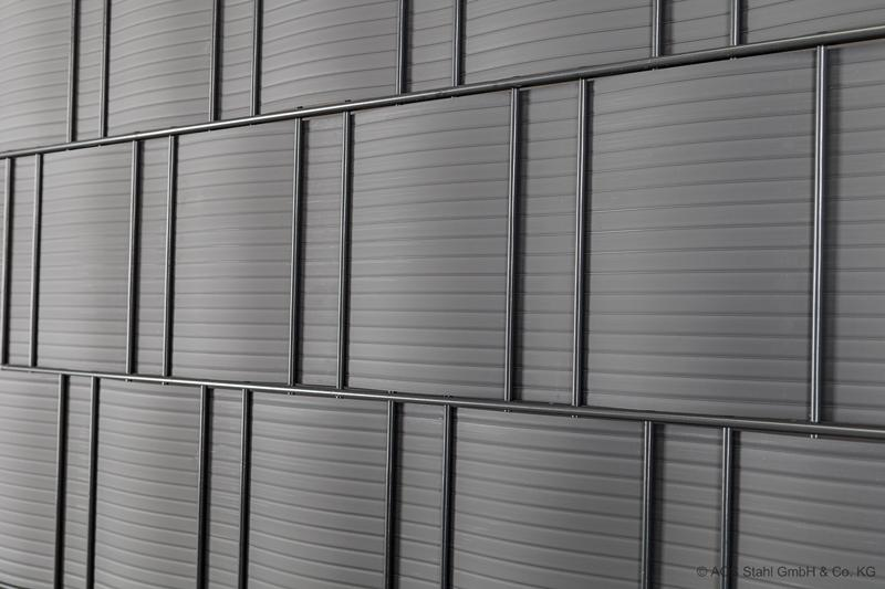 Doppelstabgitterzaun Sichtschutzstreifen Blickdicht pro easy (L: 252 x 19 cm) - hellgrau