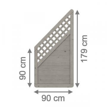 Sichtschutzzaun arzago – gartenzaun aus nadelholz grau lasiert