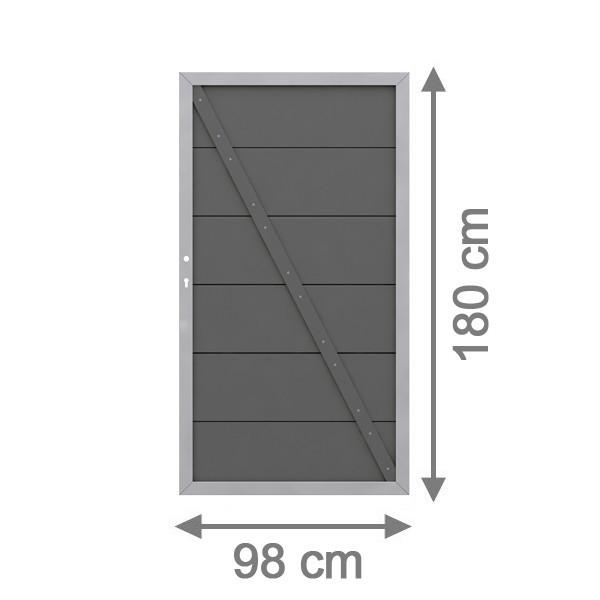 br gmann sichtschutzzaun design wpc alu tor anthrazit din rechts 98 x 180cm. Black Bedroom Furniture Sets. Home Design Ideas