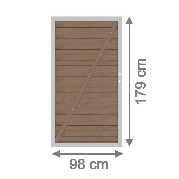 br gmann sichtschutzzaun system wpc tor din links mandel silber 98 x 179 cm. Black Bedroom Furniture Sets. Home Design Ideas