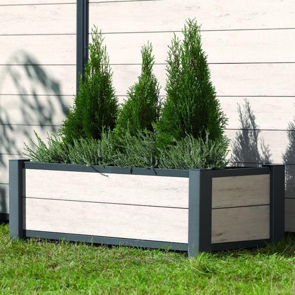 br gmann pflanzkasten system wpc anthrazit 129 5 x 52cm. Black Bedroom Furniture Sets. Home Design Ideas