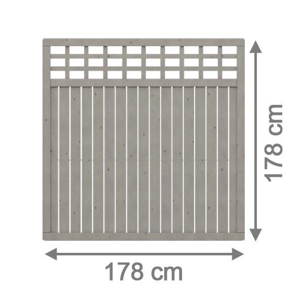 br gmann sichtschutzzaun como rechteck mit gitter grau lasiert 178 x 178 cm. Black Bedroom Furniture Sets. Home Design Ideas